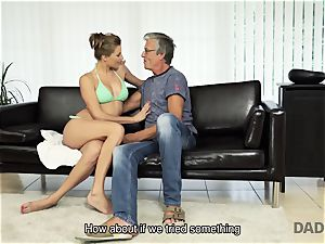 DADDY4K. dame left with throatful of jizz after being banged by father