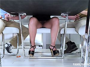 Phoenix Marie gets a hot three way at the dinner table