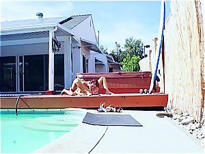 bikini lezzies having fun by the pool